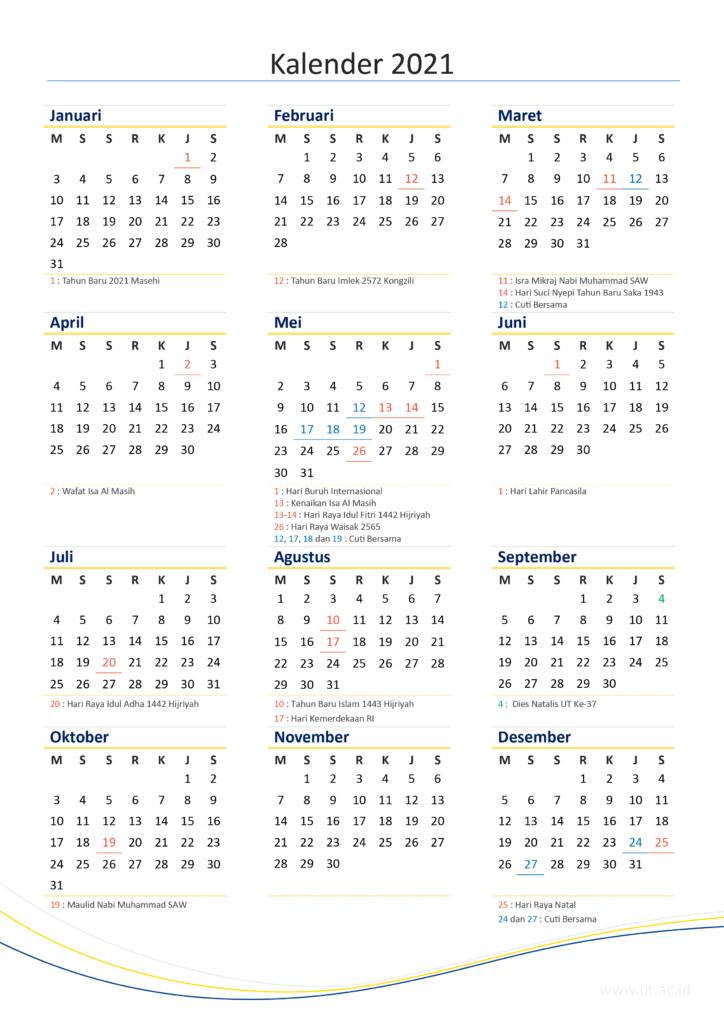 Kalender 2021 Masehi Sederhana Ukuran A4 - Mei bi yes